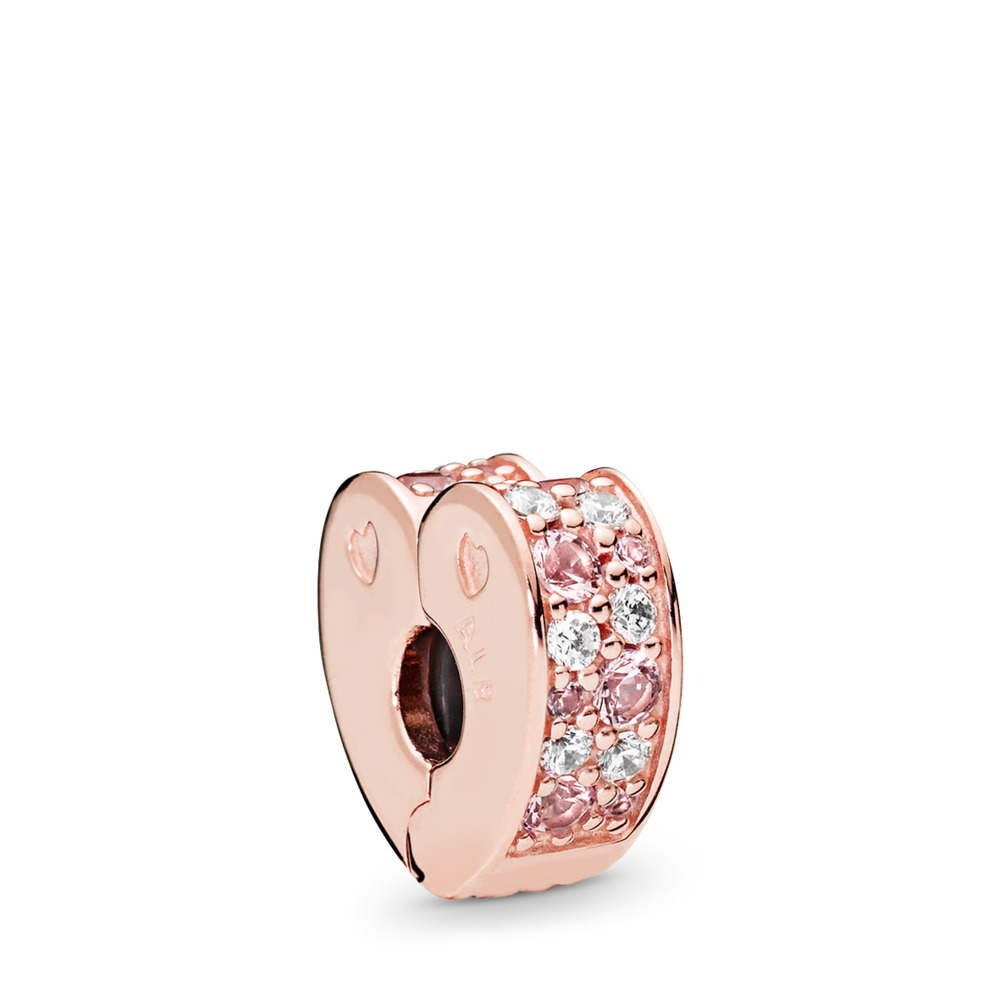 Arcs of Love Clip, PANDORA Rose™, Light Pink & Rose Pink Crystals & Clear CZ, PANDORA Rose, Silicone, Pink, Mixed stones - PANDORA - #787020NPM