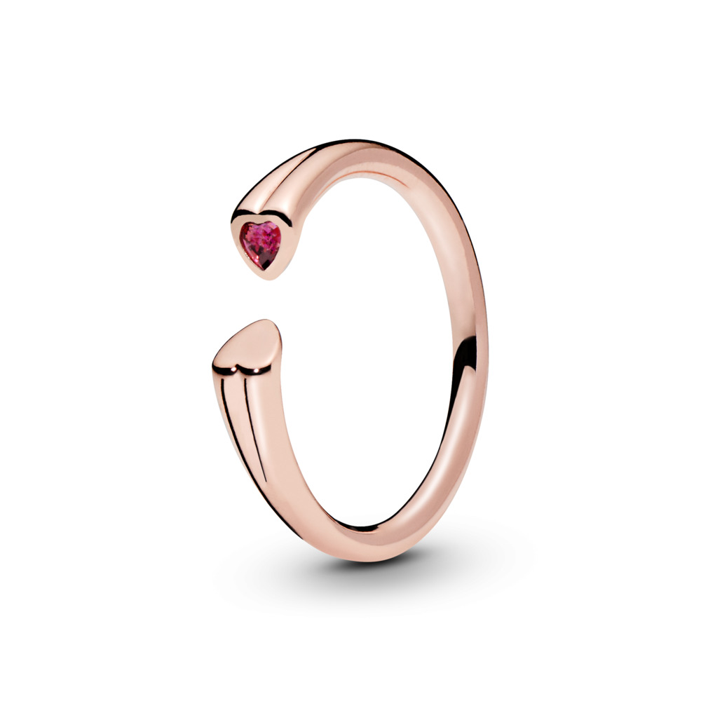 Polished & Sparkling Hearts Open Ring, PANDORA Rose, Red, Cubic Zirconia - PANDORA - #186570CZR