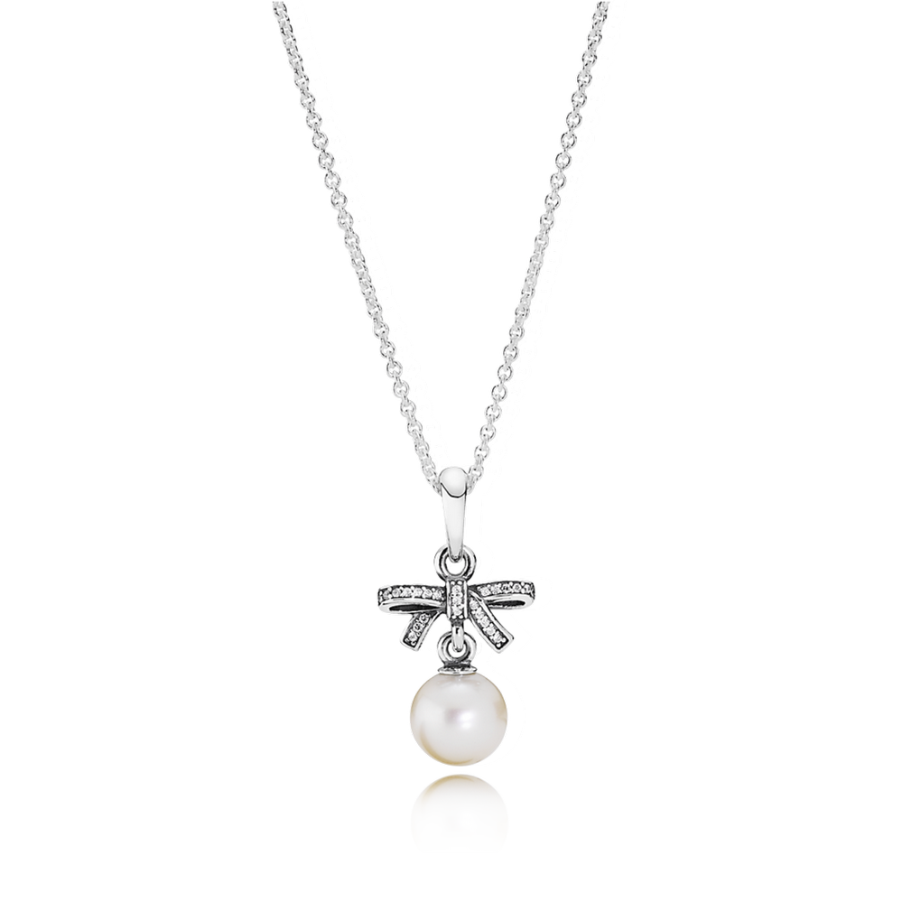 Delicate Sentiments Pendant Necklace, White Pearl & Clear CZ