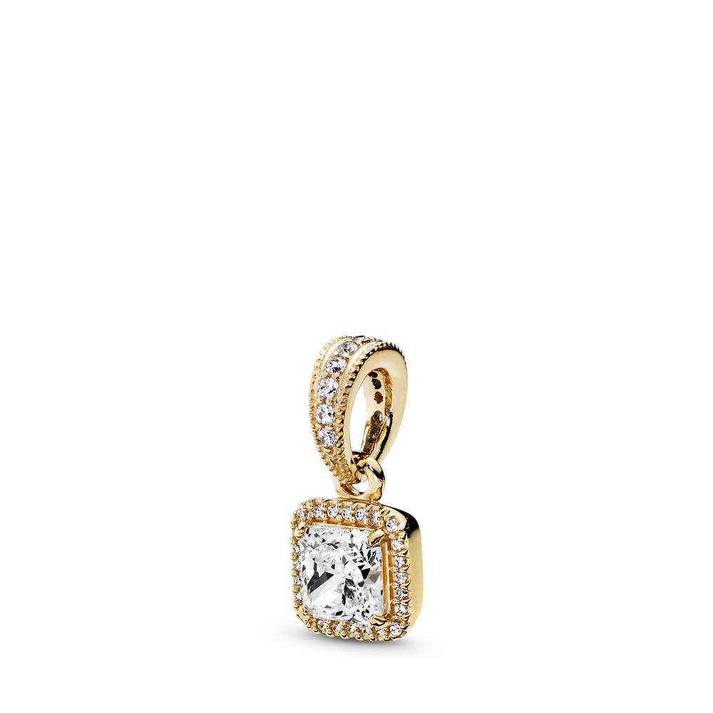 Timeless Elegance, Pendant 14K Gold & Clear CZ, Yellow Gold 14 k, Cubic Zirconia - PANDORA - #350180CZ