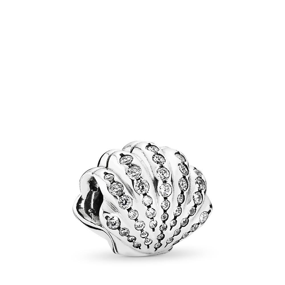Disney, Ariel's Shell Charm, Clear CZ, Sterling silver, Cubic Zirconia - PANDORA - #791574CZ