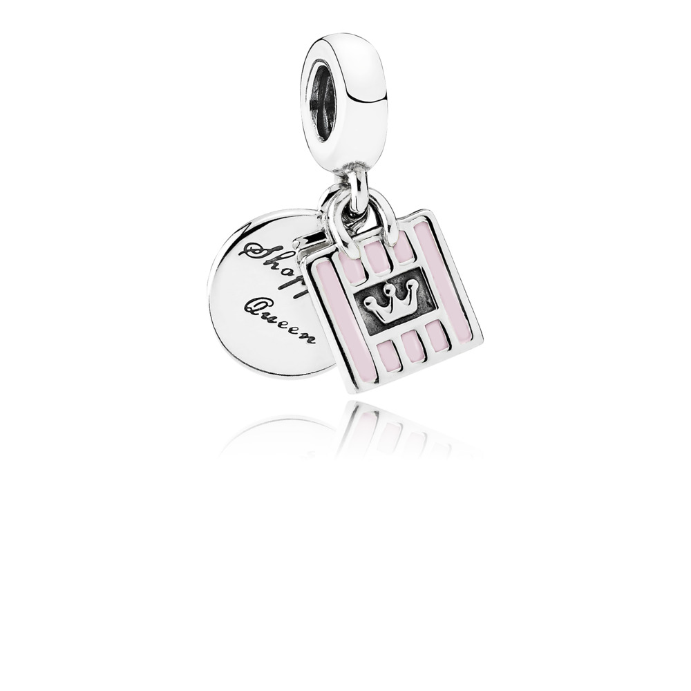 Shopping Queen Dangle Charm, Soft Pink Enamel, Sterling silver, Enamel, Pink - PANDORA - #791985EN40