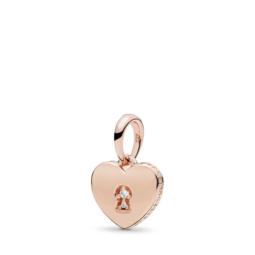 Shimmering Keyhole Pendant, PANDORA Rose™ & Clear CZ, PANDORA Rose, Cubic Zirconia - PANDORA - #387687CZ