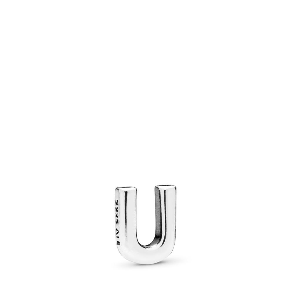 Letter U Petite Locket Charm, Sterling silver - PANDORA - #797339