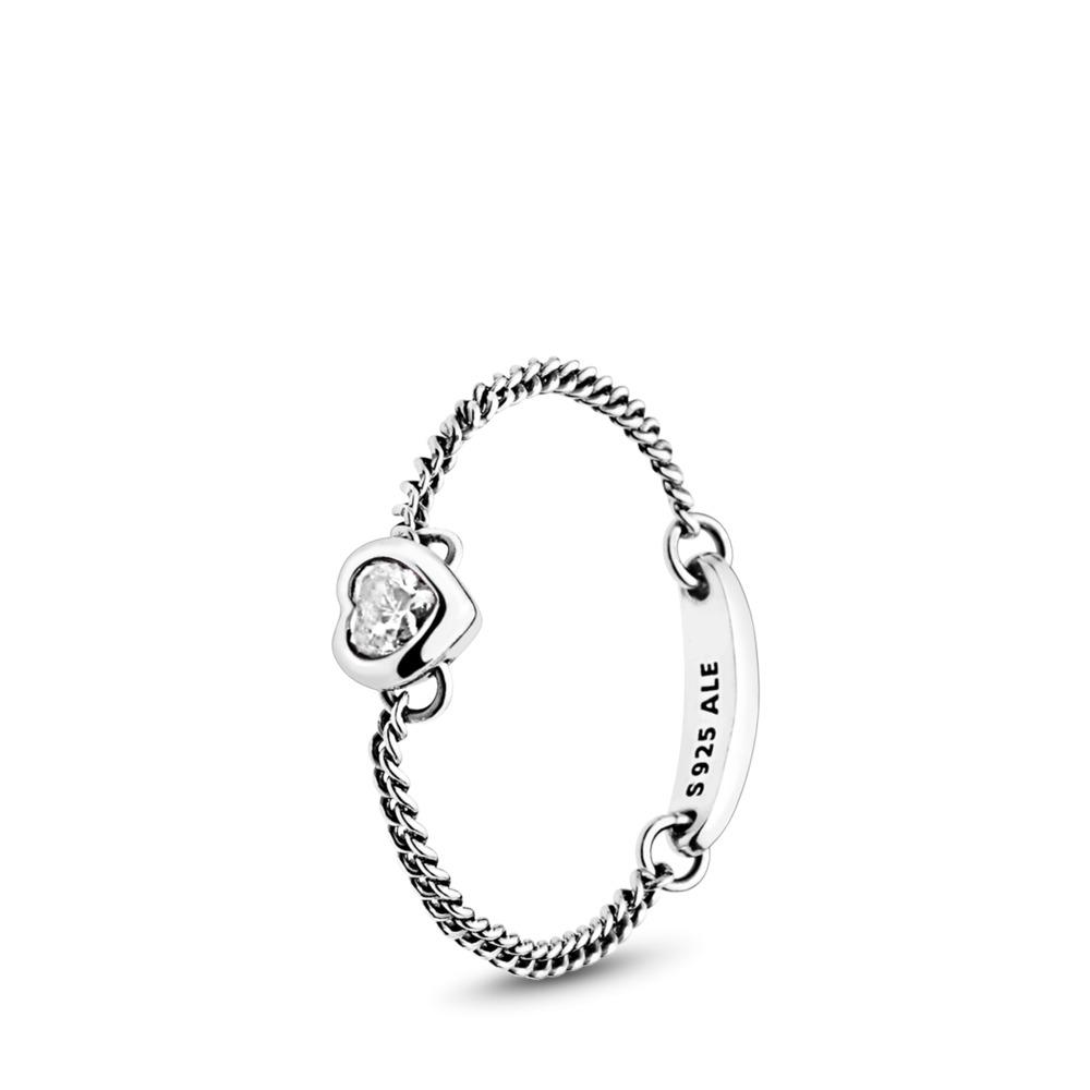 Anillo de plata esterlina 925  con corazón en zirconia, Plata, sin color, Circonita cúbica - PANDORA - #197191CZ