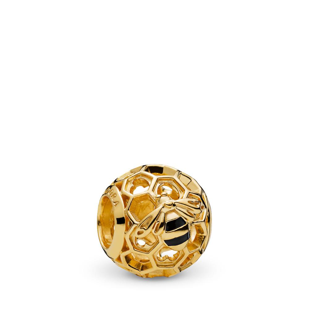 PANDORA Honeybee Charm, PANDORA Shine™, 18ct Gold Plated, Enamel, Black - PANDORA - #767023EN16