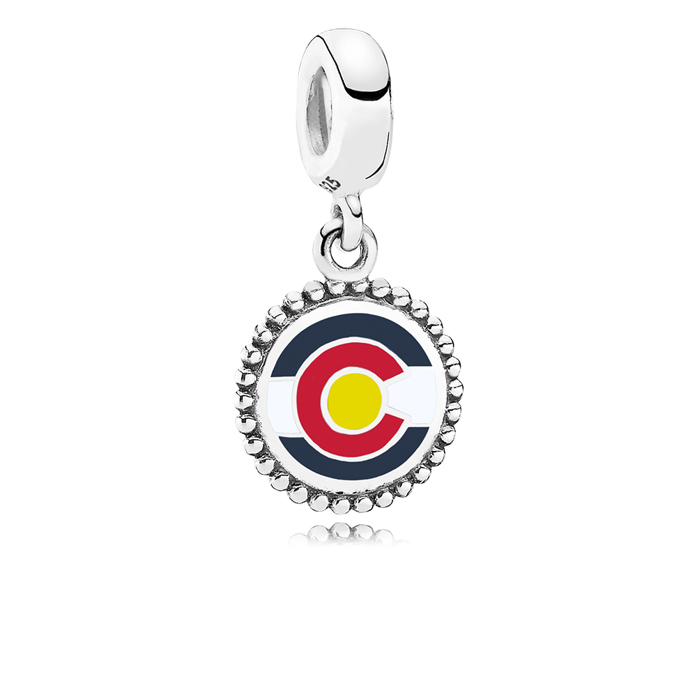 Colorado Flag Dangle Charm, Mixed Enamel, Sterling silver, Enamel, Red - PANDORA - #ENG791169_100