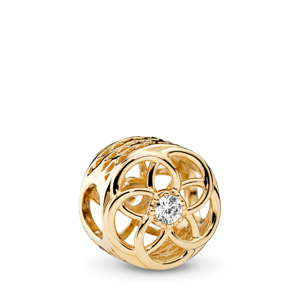Loving Bloom Charm, 14K Gold & Clear CZ, Yellow Gold 14 k, Cubic Zirconia - PANDORA - #750598CZ