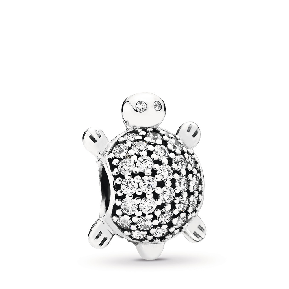 Sea Turtle Charm, Clear CZ, Sterling silver, Cubic Zirconia - PANDORA - #791538CZ
