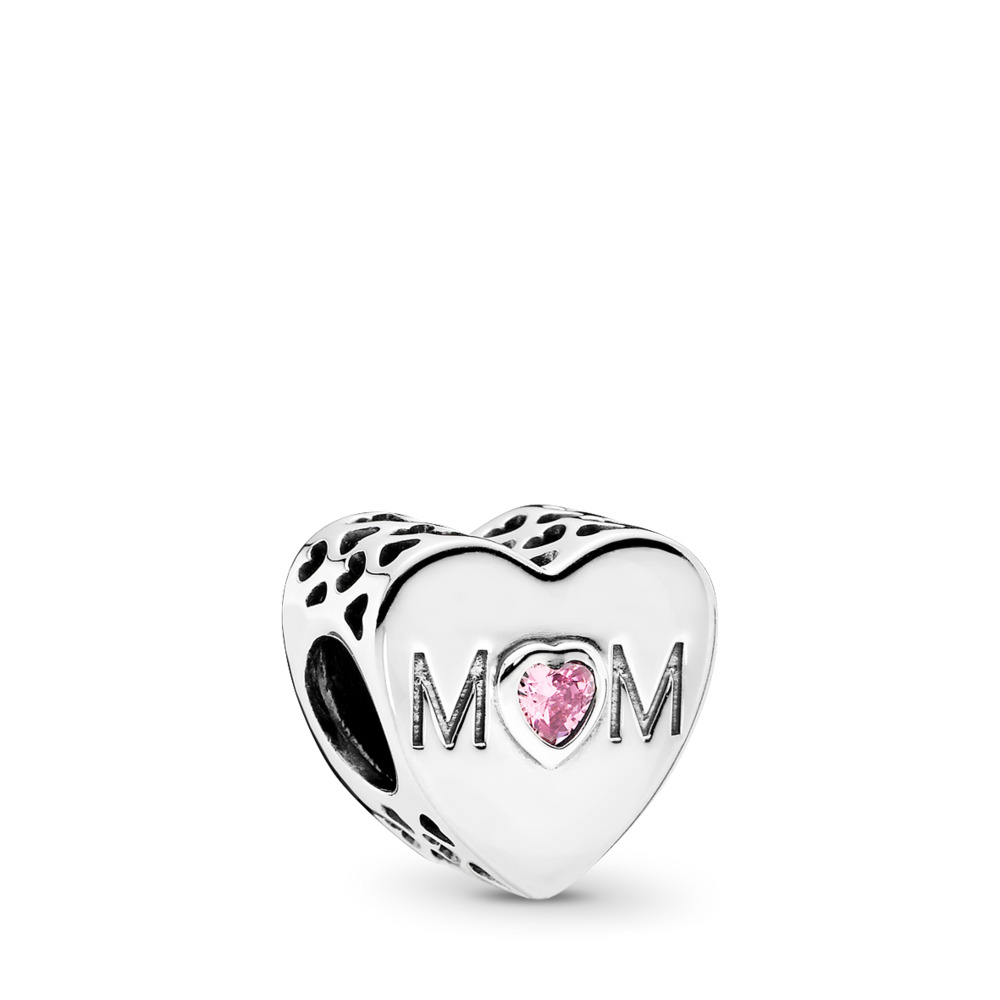 Mother Heart Charm, Pink CZ, Sterling silver, Cubic Zirconia - PANDORA - #791881PCZ