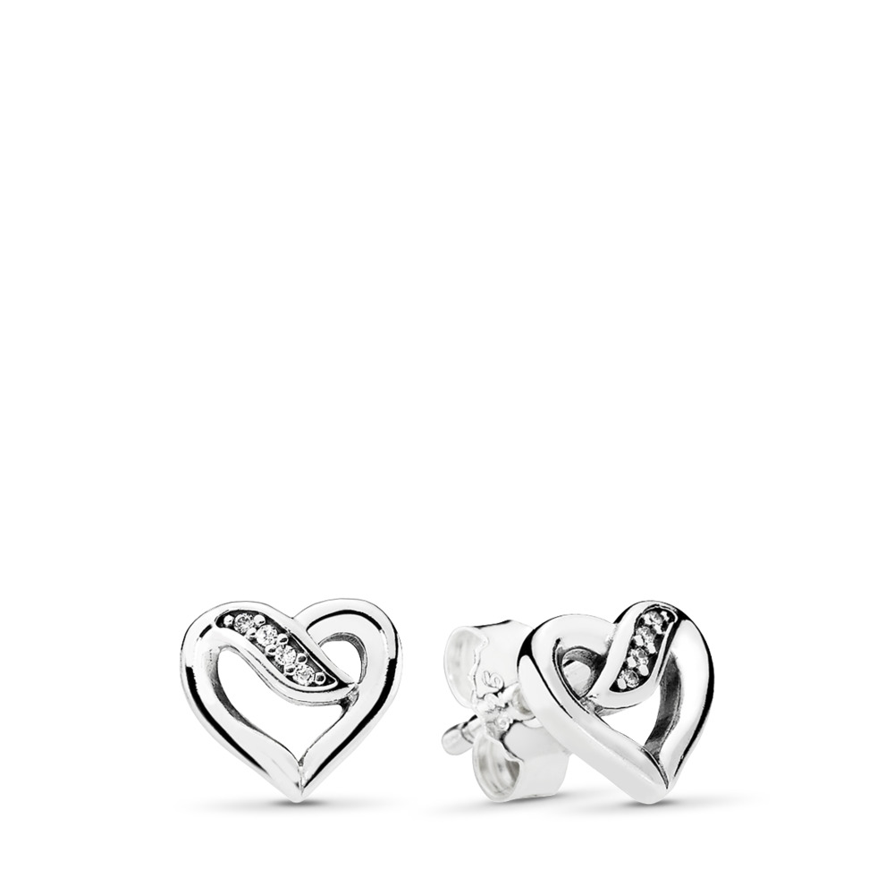 Dreams of Love Stud Earrings, Clear CZ, Sterling silver, Cubic Zirconia - PANDORA - #290736CZ