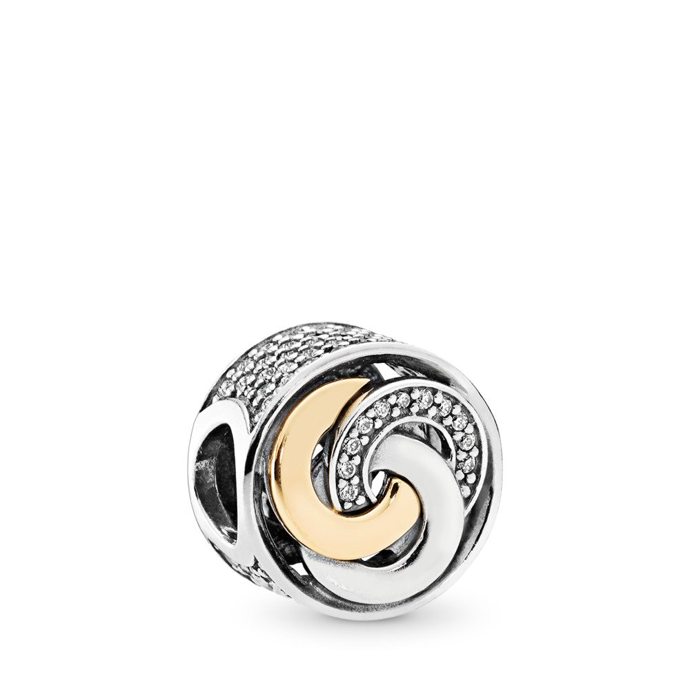 Interlinked Circles Charm, Clear CZ, Two Tone, Cubic Zirconia - PANDORA - #792090CZ