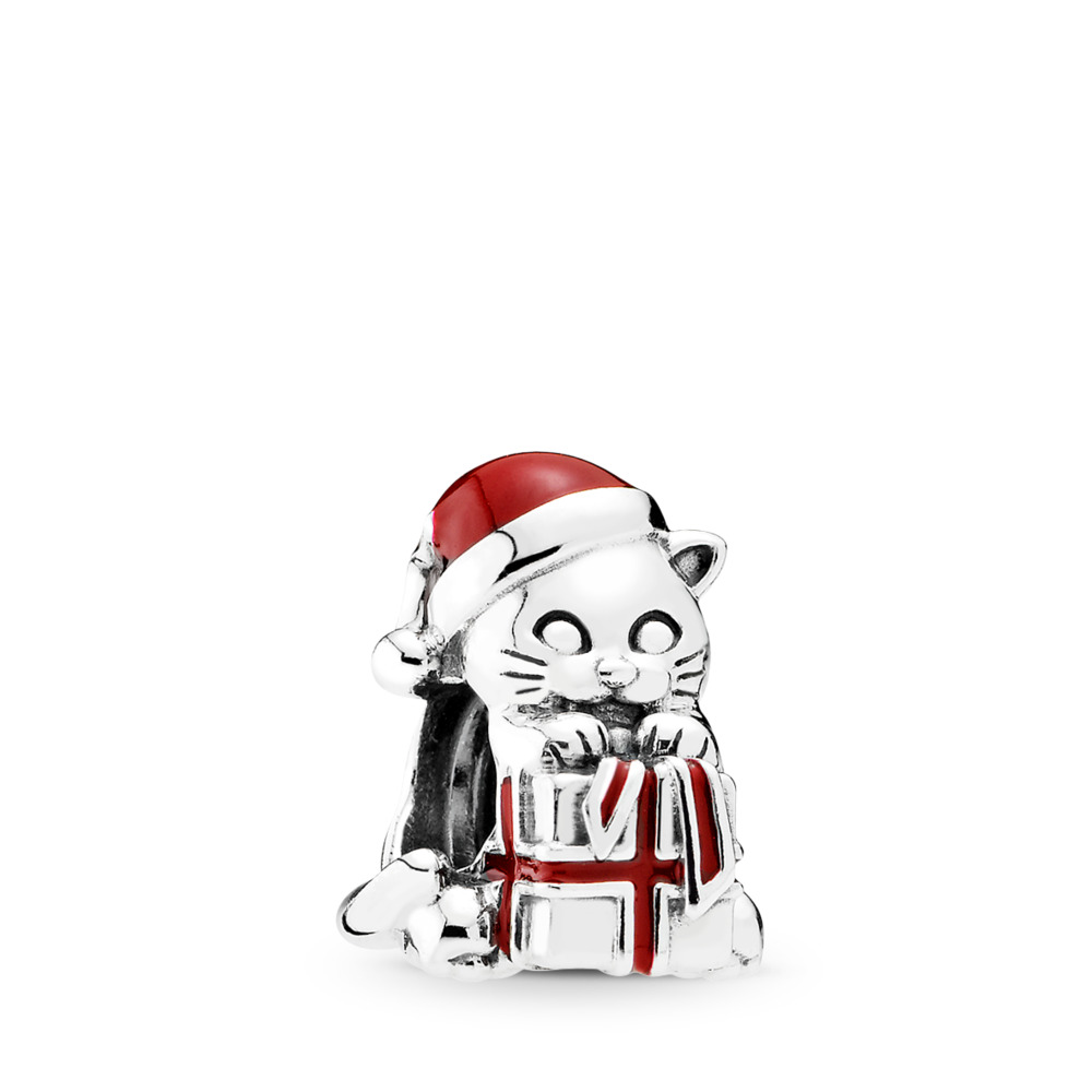 Christmas Kitten Charm, Berry Red Enamel, Sterling silver, Enamel, Red - PANDORA - #792007EN39