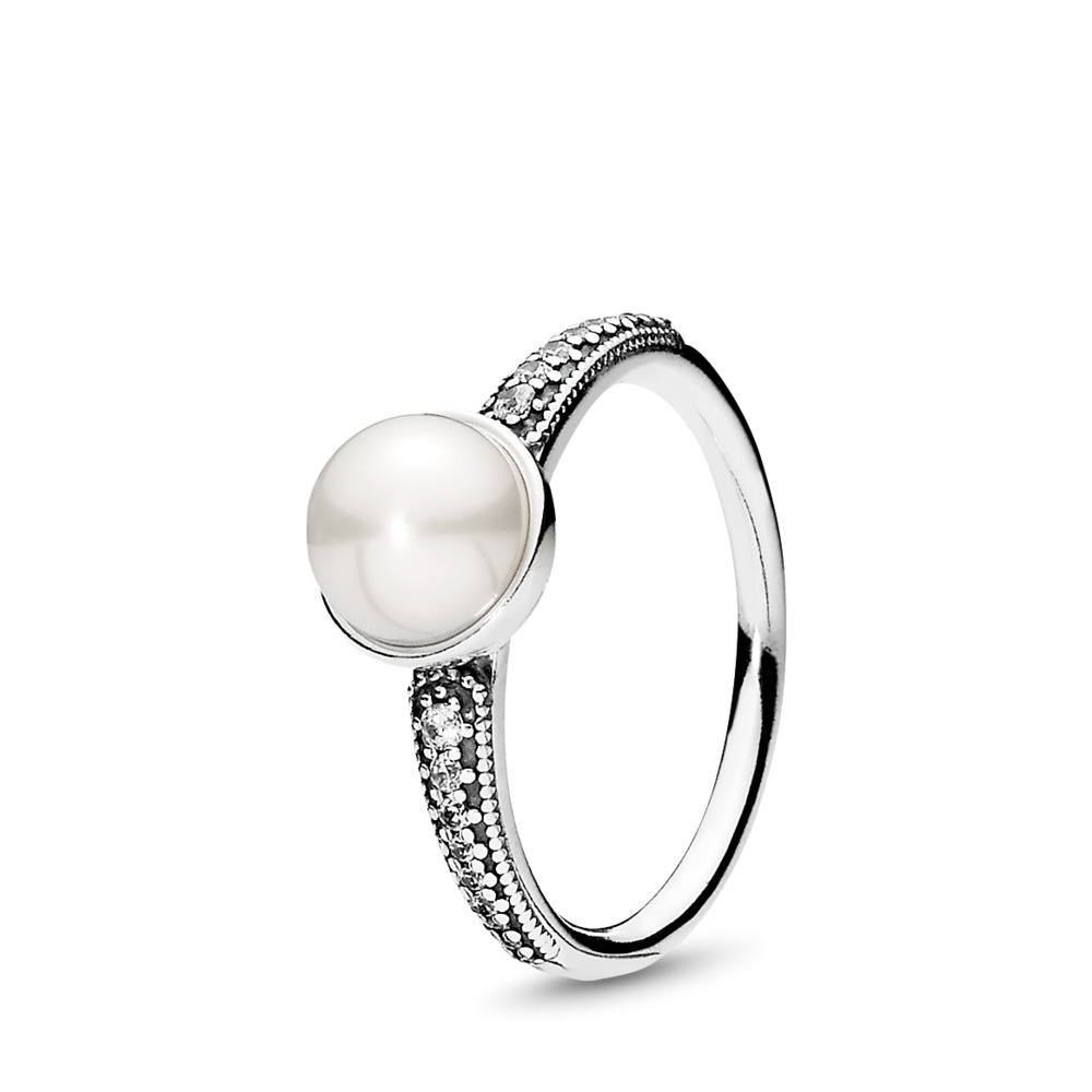 Elegant Beauty Ring, White Pearl & Clear CZ, Sterling silver, White, Mixed stones - PANDORA - #191018P