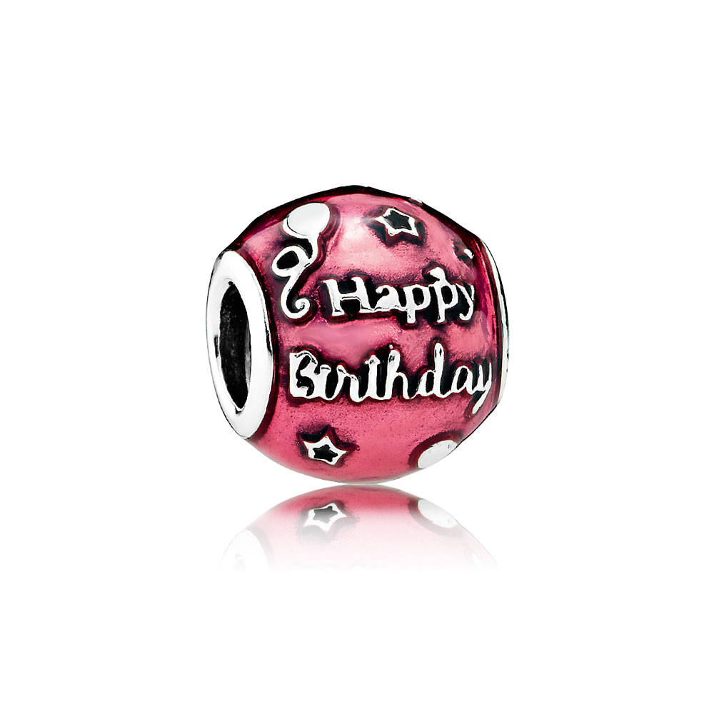Birthday Celebration Charm, Transparent Cerise Enamel