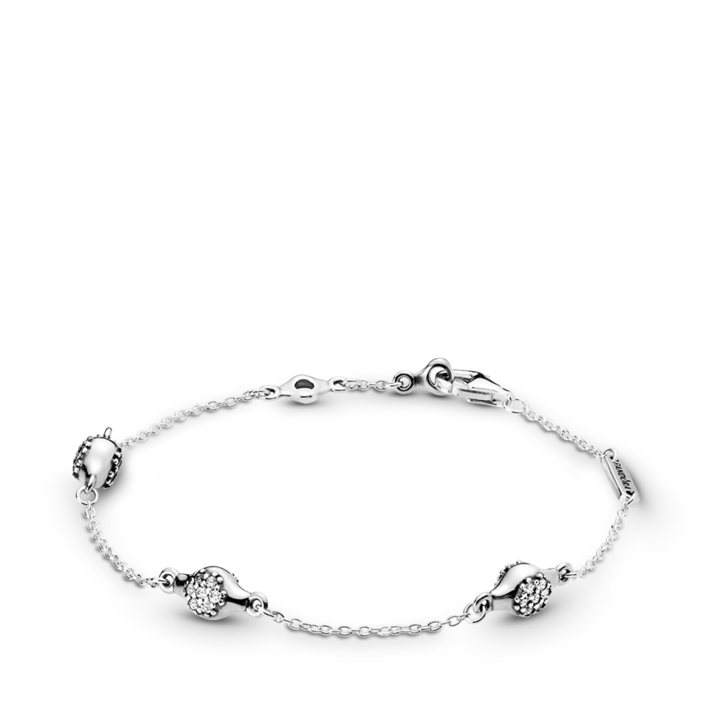 Modern LovePods™ Bracelet, Clear CZ, Sterling silver, Cubic Zirconia - PANDORA - #597354CZ