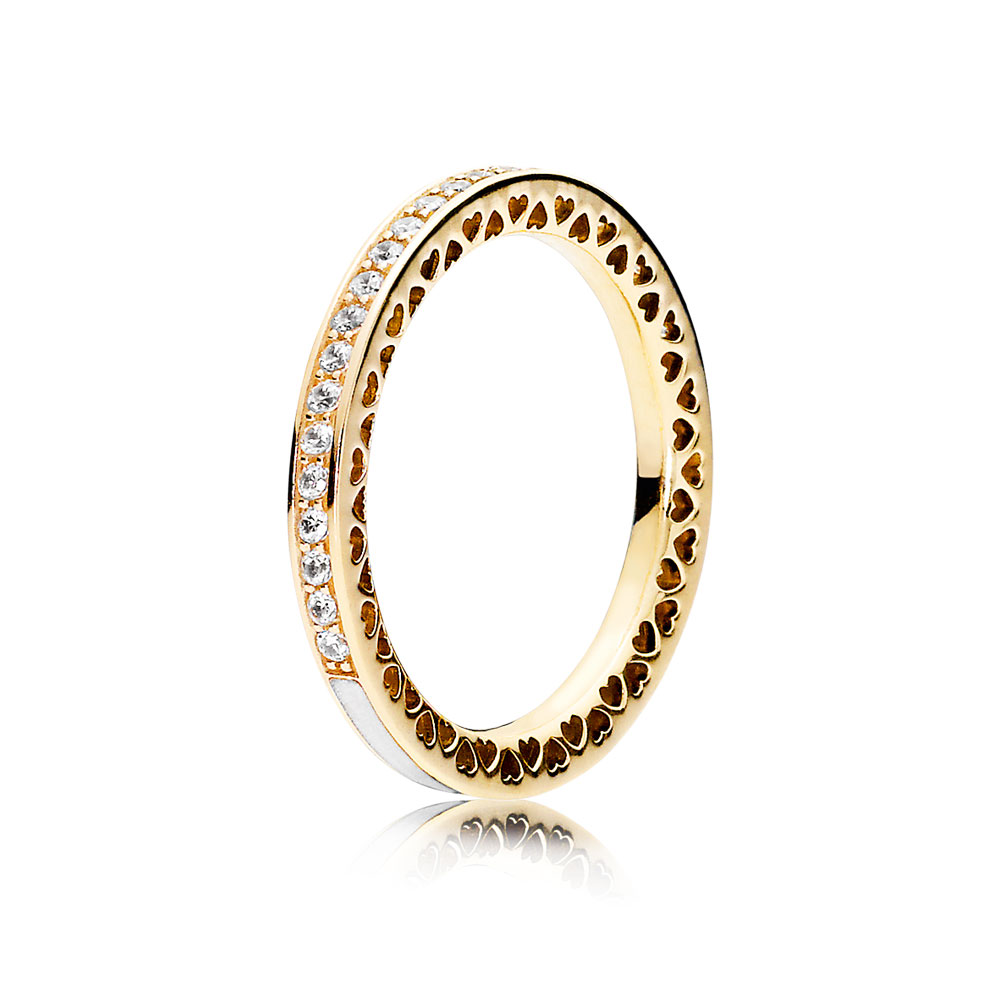 Radiant Hearts of PANDORA Ring, 14K Gold & Clear CZ