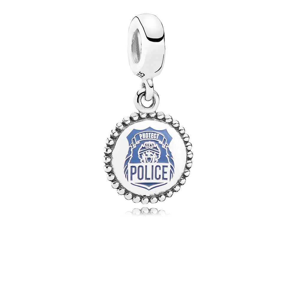 Police Dangle Charm, Blue Enamel