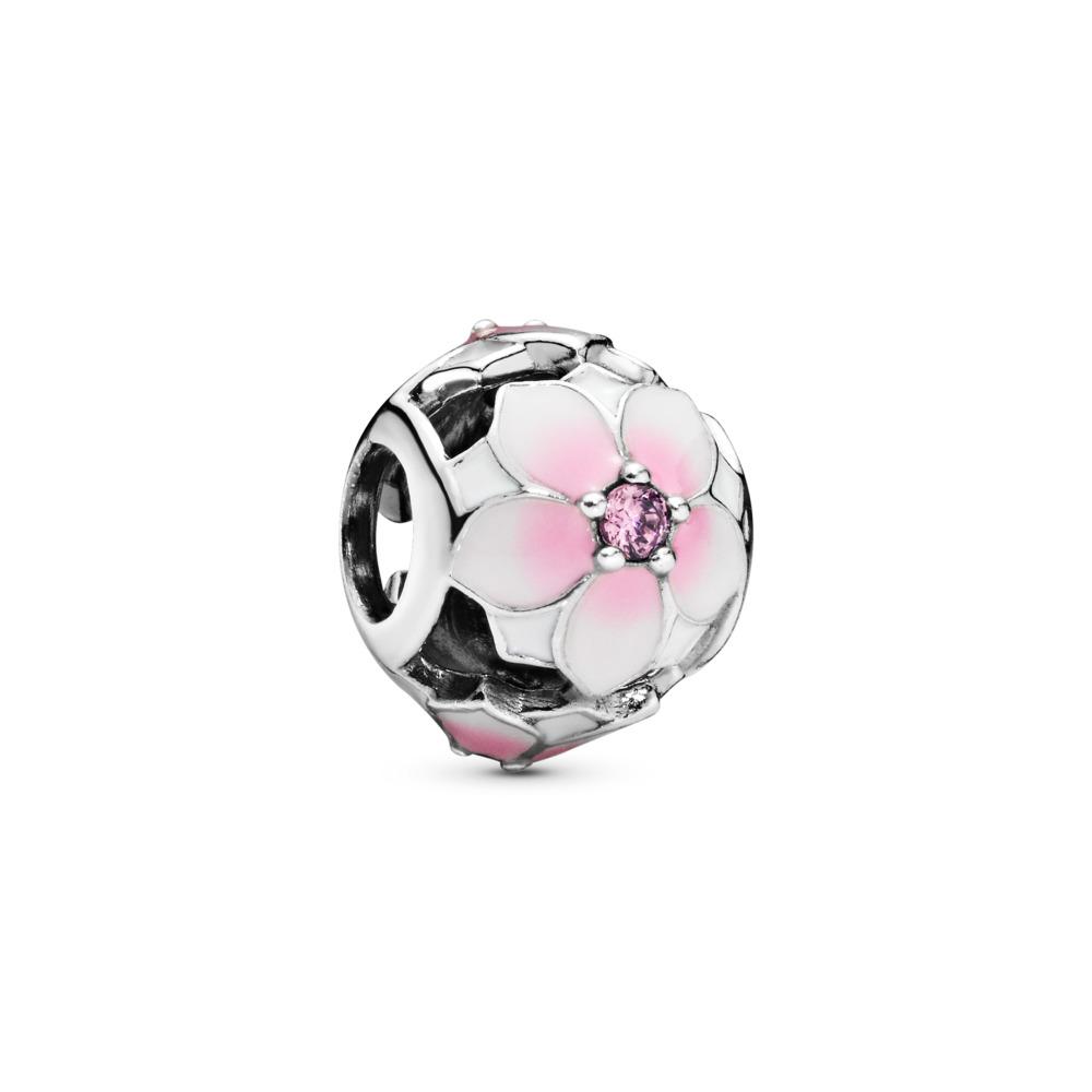 Magnolia Bloom Charm, Pale Cerise Enamel & Pink CZ, Sterling silver, Enamel, Pink, Cubic Zirconia - PANDORA - #792087PCZ