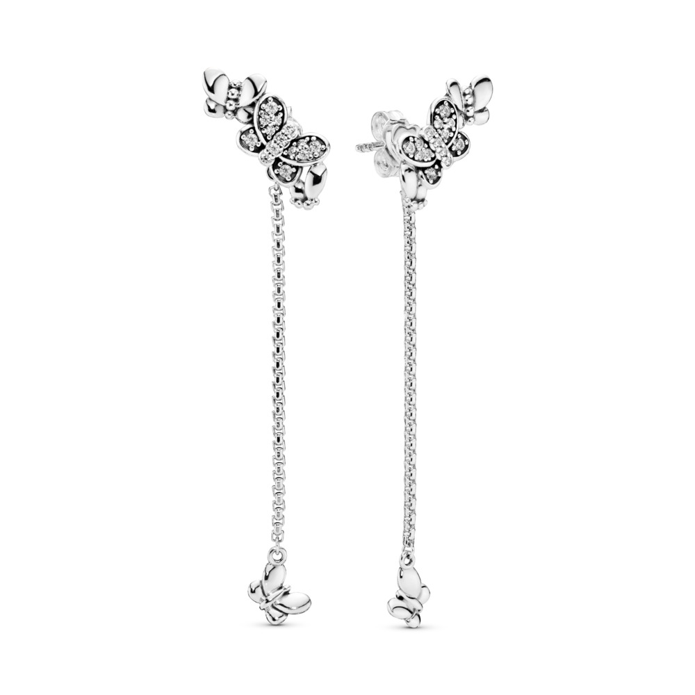Bedazzling Butterflies Earrings, Sterling silver, Cubic Zirconia - PANDORA - #297964CZ