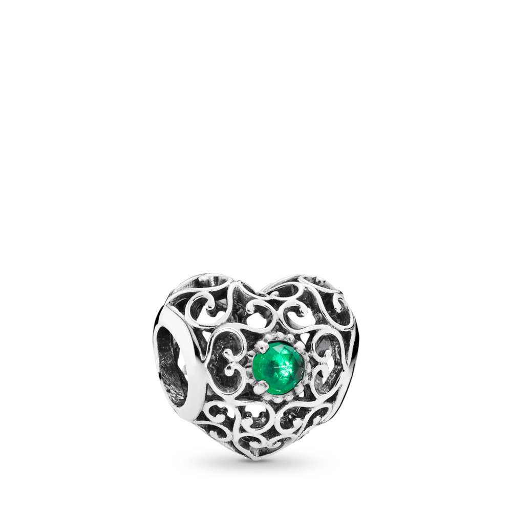 May Signature Heart Charm, Royal Green Crystal, Sterling silver, Turquoise, Crystal - PANDORA - #791784NRG