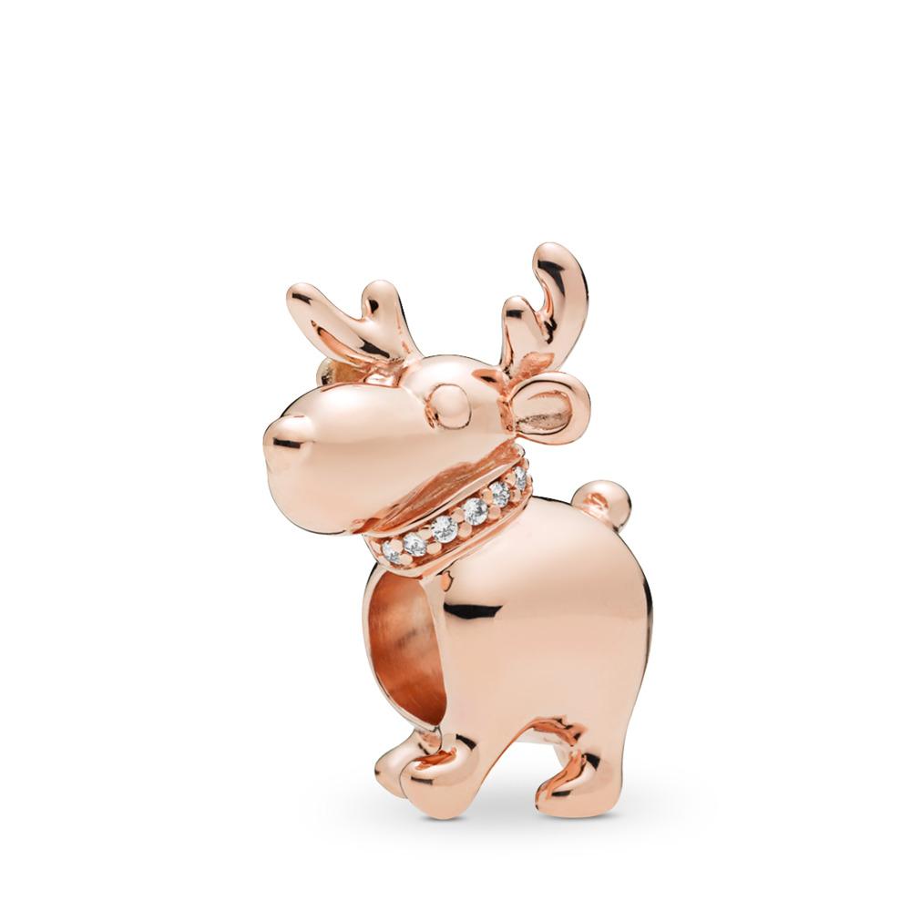 Happy Reindeer Charm, Clear CZ, PANDORA Rose, Cubic Zirconia - PANDORA - #787514CZ