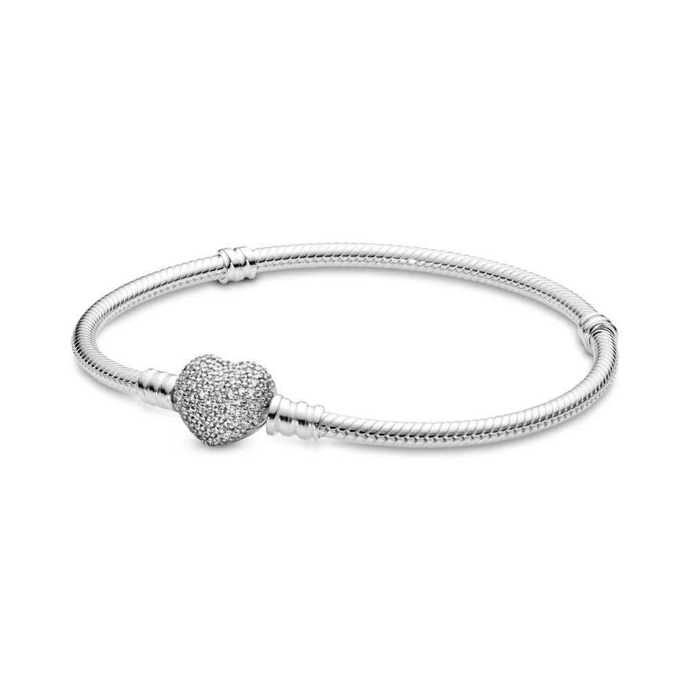 72b790684 Moments Sparkling Heart & Snake Chain Bracelet