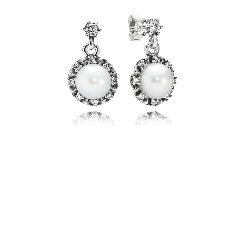 Everlasting Grace Drop Earrings, White Pearl & Clear CZ, Sterling silver, Mixed stones - PANDORA - #290562P
