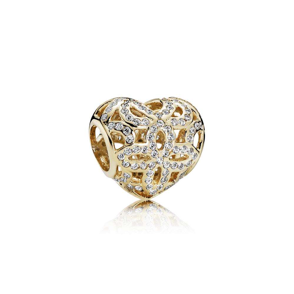 Love & Appreciation Charm, Clear CZ & 14K Gold