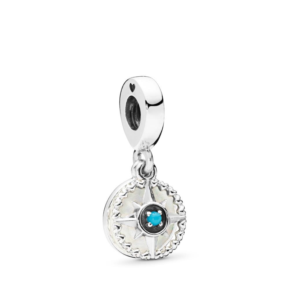 Compass Rose Dangle Charm, Silver Enamel & Cyan Blue Crystal, Sterling silver, Enamel, Blue, Crystal - PANDORA - #797196EN23
