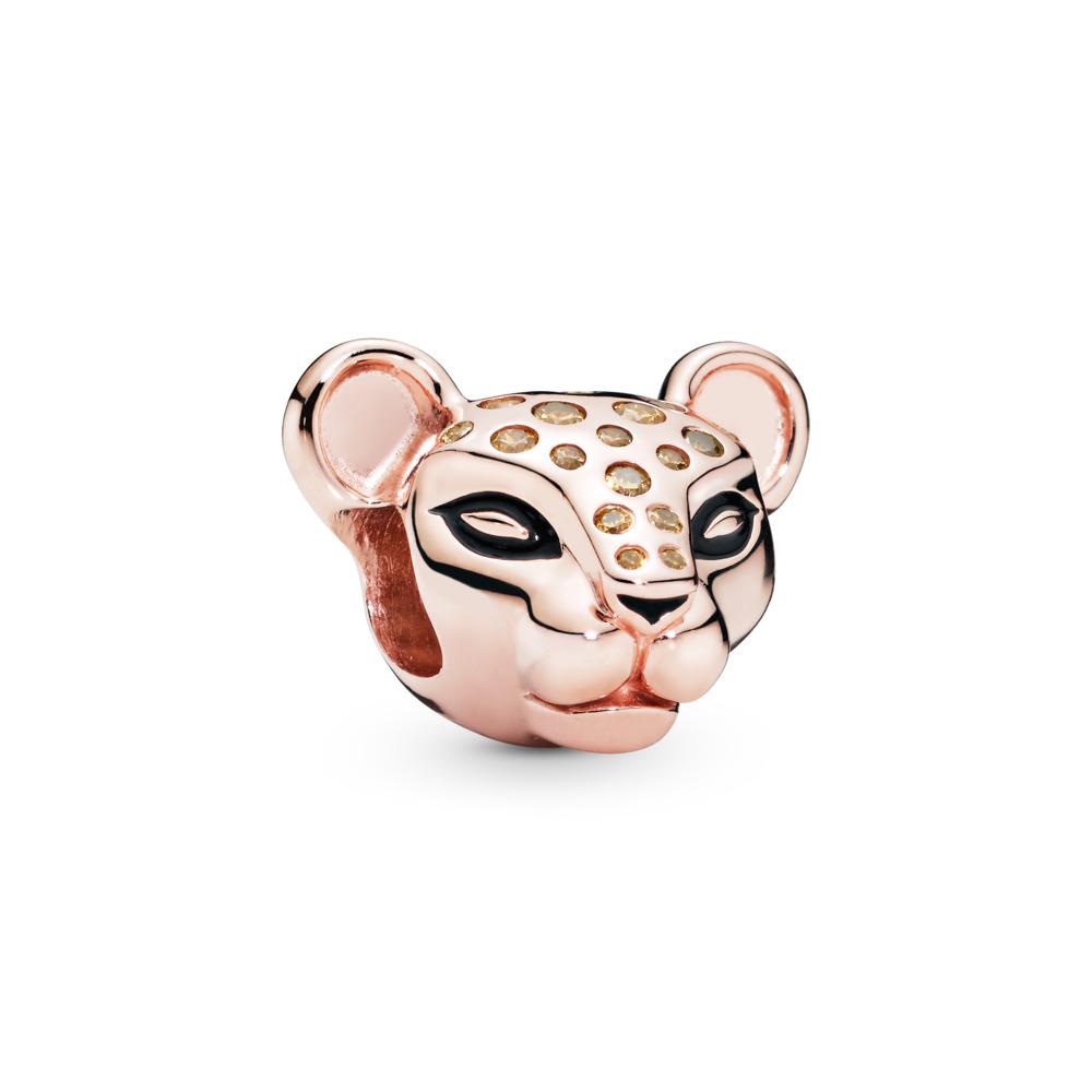 Sparkling Lion Princess Charm, Pandora Rose™, PANDORA Rose, Enamel, Black, Cubic Zirconia - PANDORA - #788024CZM