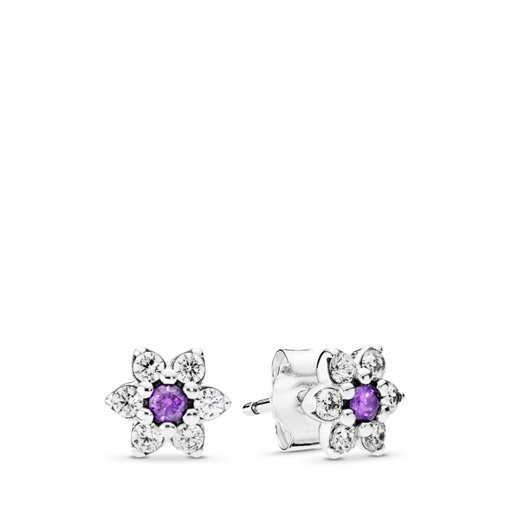 Forget Me Not Stud Earrings, Purple & Clear CZ, Sterling silver, Purple, Cubic Zirconia - PANDORA - #290690ACZ