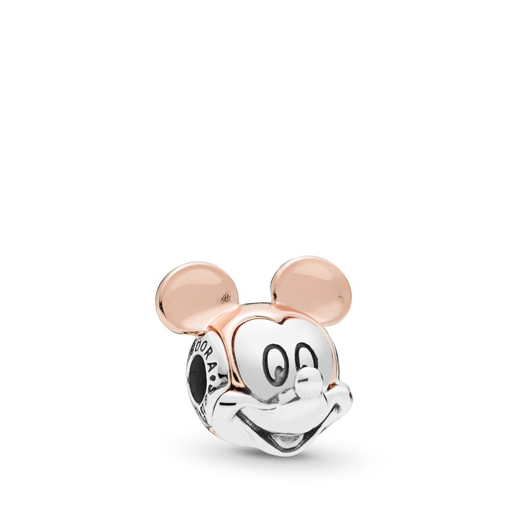 Disney, Two-tone Mickey Portrait Charm, PANDORA Rose™, PANDORA Rose with sterling silver, Silicone - PANDORA - #787503