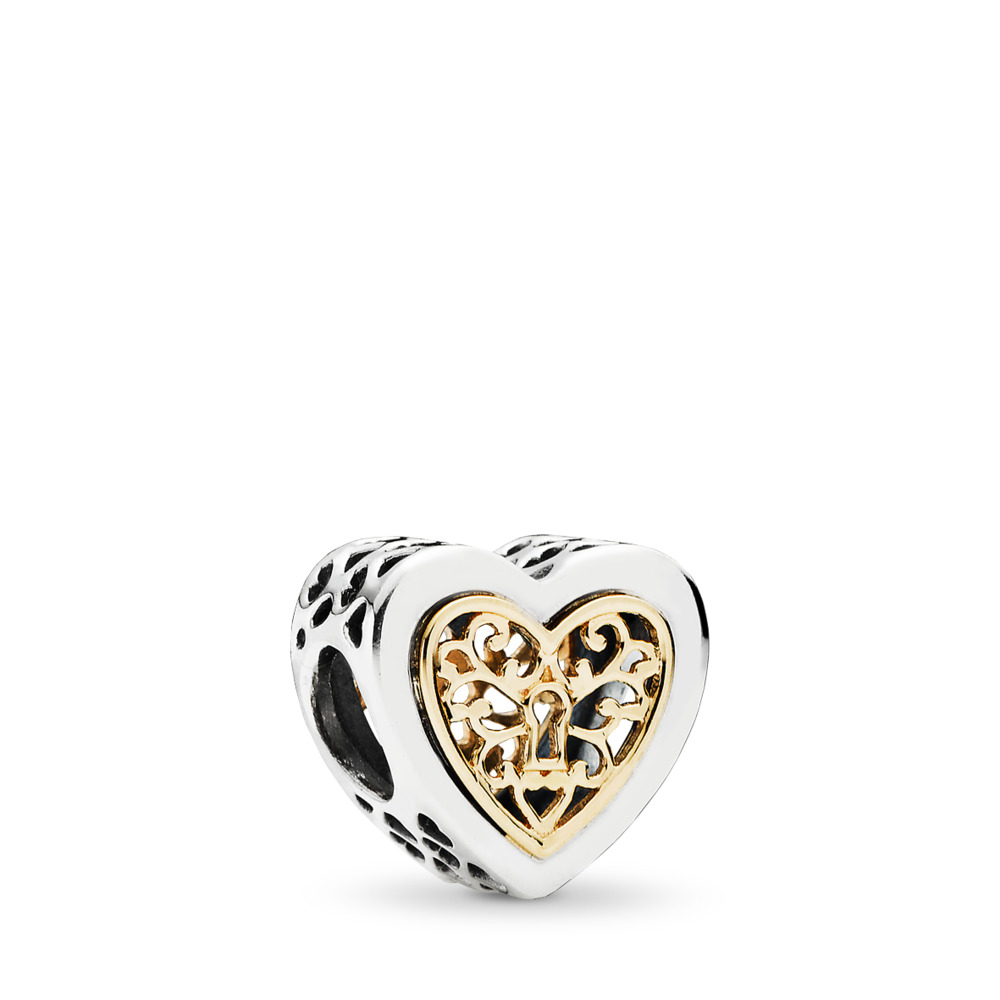 Locked Hearts Charm, Two Tone - PANDORA - #791740