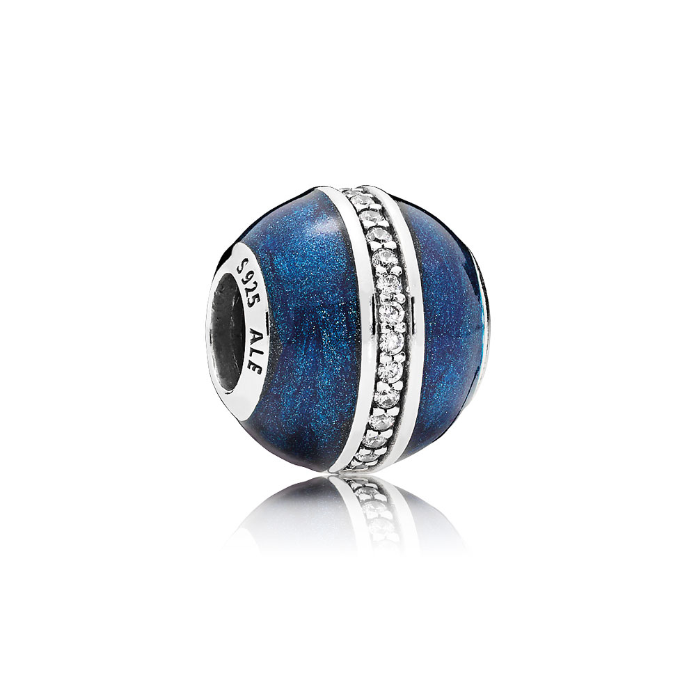 Orbit Charm, Midnight Blue Enamel & Clear CZ