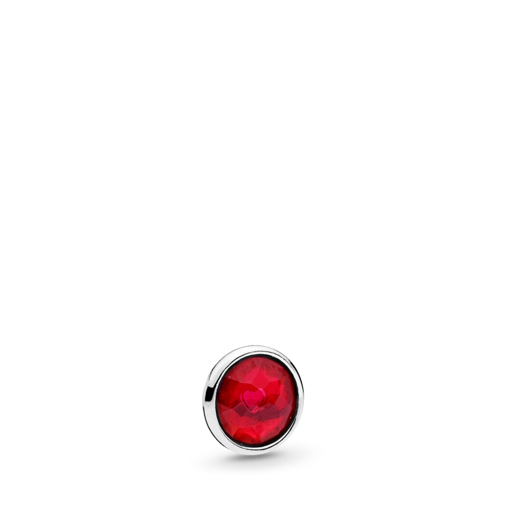 July Droplet Petite Locket Charm, Sterling silver, Synthetic Ruby - PANDORA - #792175SRU