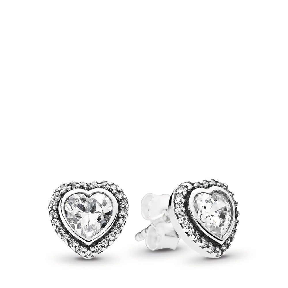 Sparkling Love Stud Earrings, Clear CZ, Sterling silver, Cubic Zirconia - PANDORA - #290568CZ