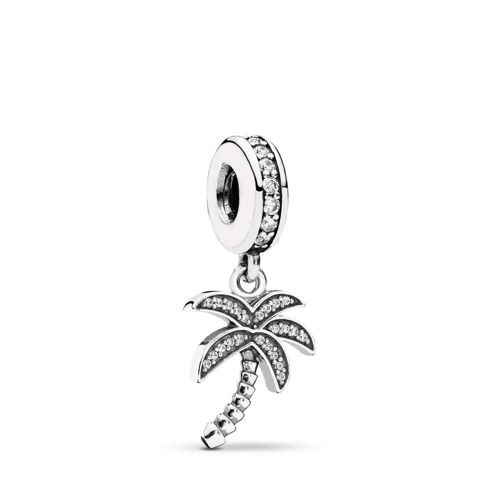 Sparkling Palm Tree Dangle Charm, Clear CZ, Sterling silver, Cubic Zirconia - PANDORA - #791540CZ