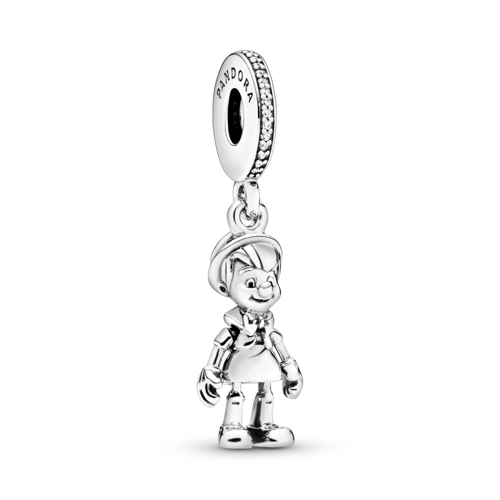 Disney, Pinocchio Dangle Charm, Clear CZ, Sterling silver, Cubic Zirconia - PANDORA - #797489CZ
