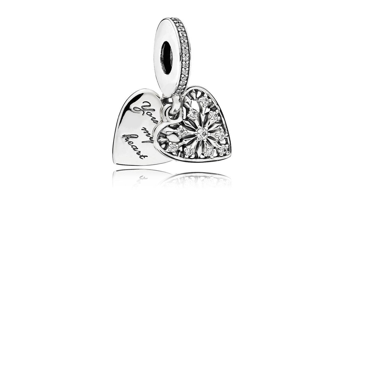 Heart of Winter Dangle Charm, Clear CZ