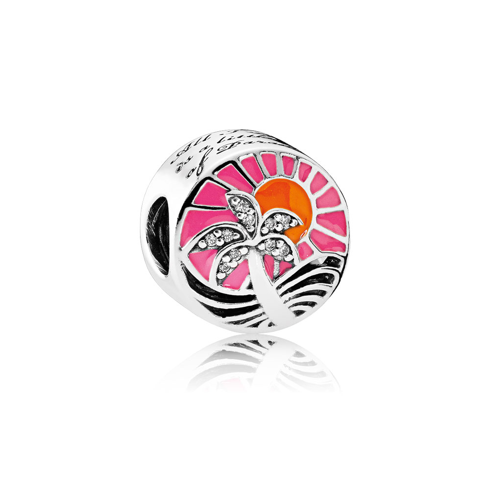 Tropical Sunset Charm, Mixed Enamel & Clear CZ