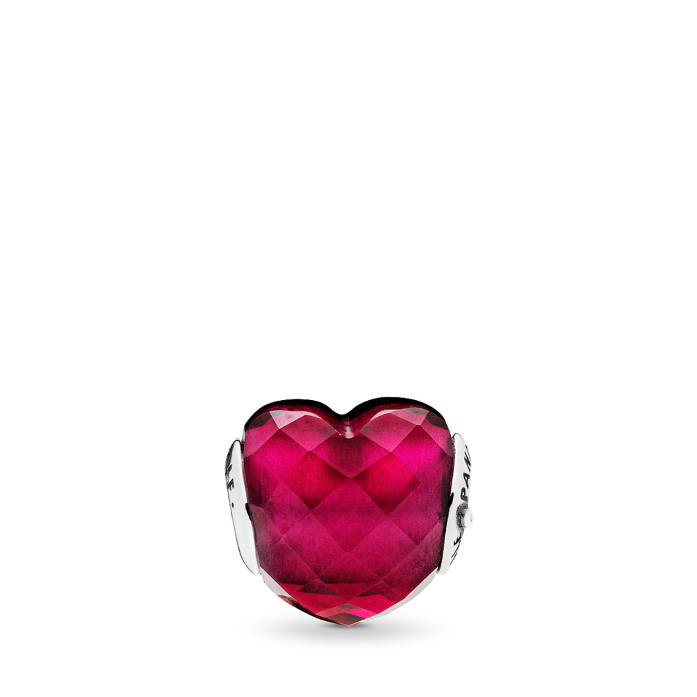 LOVE Charm, Fuchsia Red Crystal, Sterling silver, Silicone, Pink, Crystal - PANDORA - #796600NFR