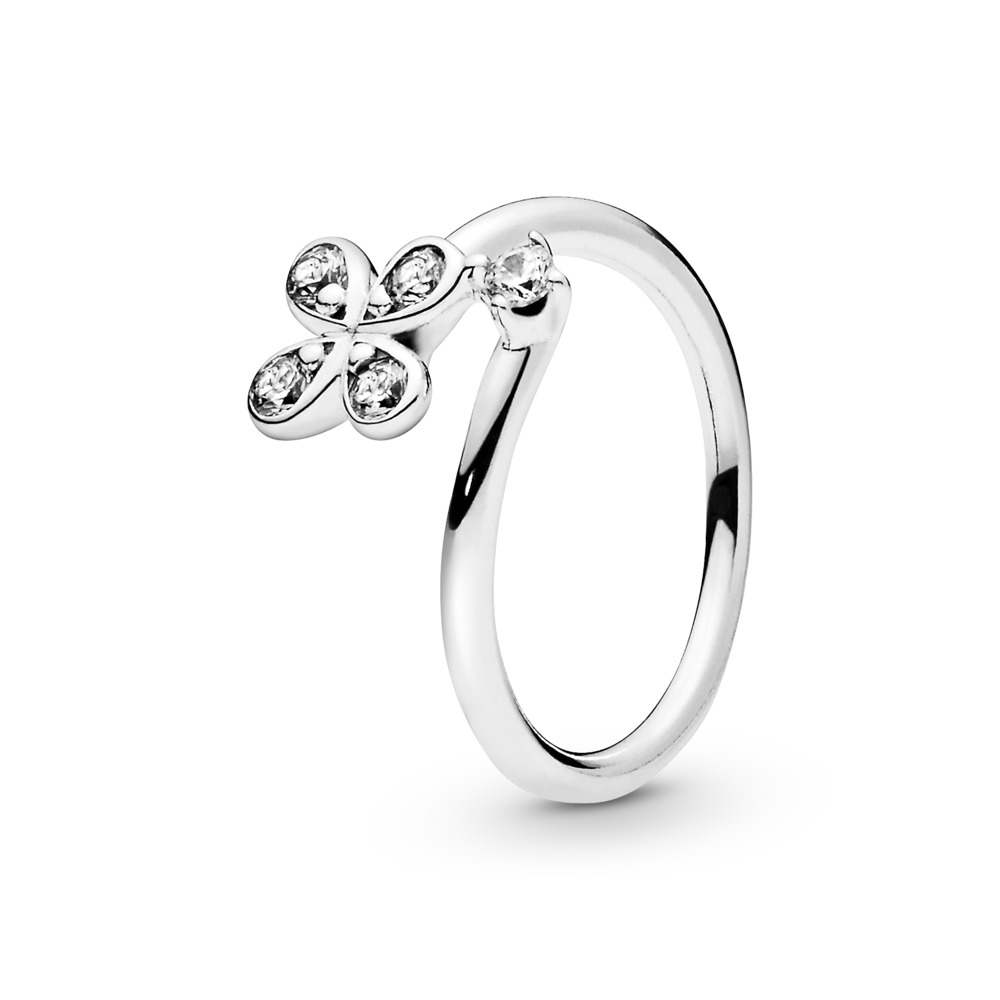 Four-Petal  Flowers Twisted Ring, Sterling silver, Cubic Zirconia - PANDORA - #197988CZ