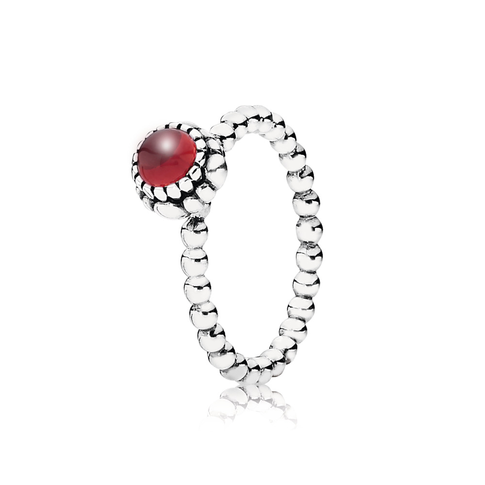 Birthday Blooms Ring, January, Garnet, Sterling silver, Red, Garnet - PANDORA - #190854GA