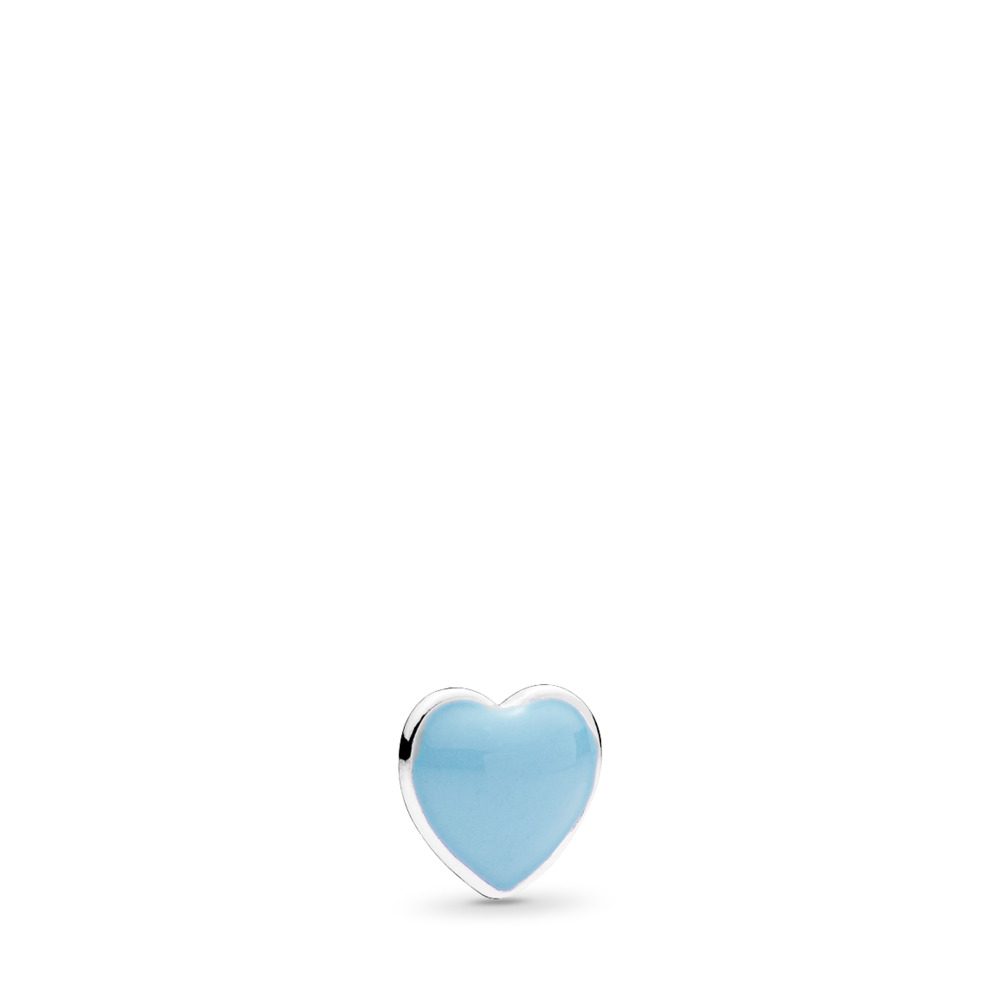 Blue Heart Petite Locket Charm, Baby Blue Enamel, Sterling silver, Enamel, Blue - PANDORA - #792169EN41