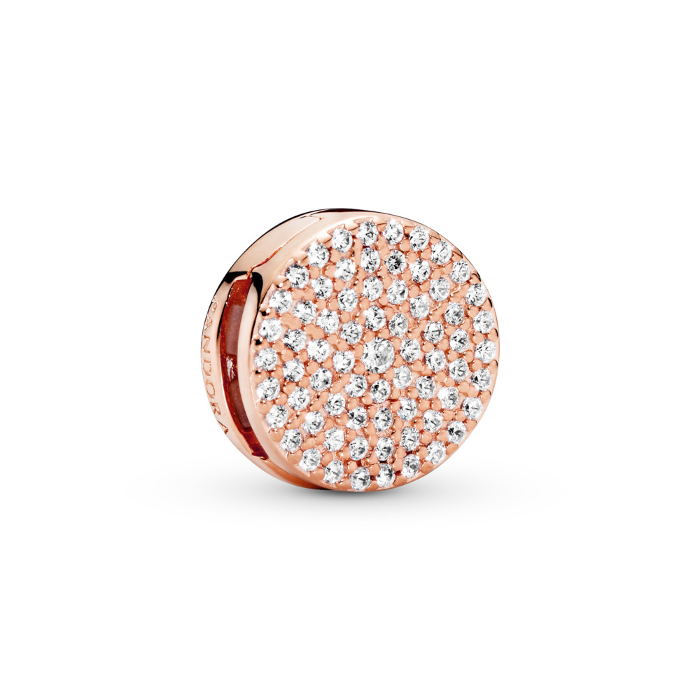 PANDORA Reflexions™ Dazzling Elegance Clip Charm, PANDORA Rose™ &  Clear CZ, PANDORA Rose, Silicone, Cubic Zirconia - PANDORA - #787583CZ