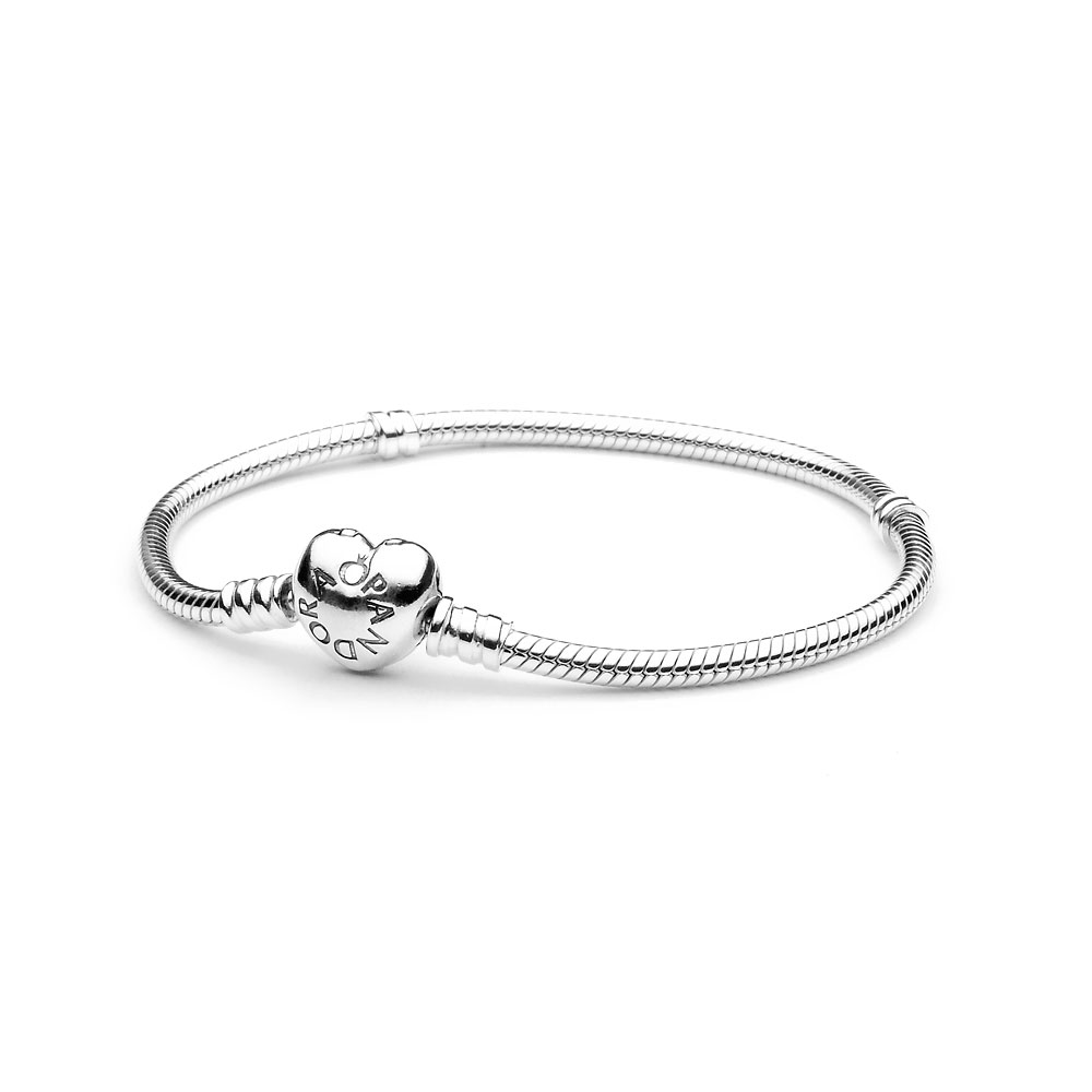 d2c7b2f47 Moments Heart & Snake Chain Bracelet, Sterling silver - PANDORA - #590719.  Thumbnail image. + Mouseover image to zoom