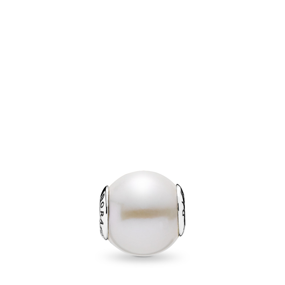 DIGNITY Charm, Freshwater Cultured Pearl, Sterling silver, Silicone, White, Freshwater cultured pearl - PANDORA - #796068P