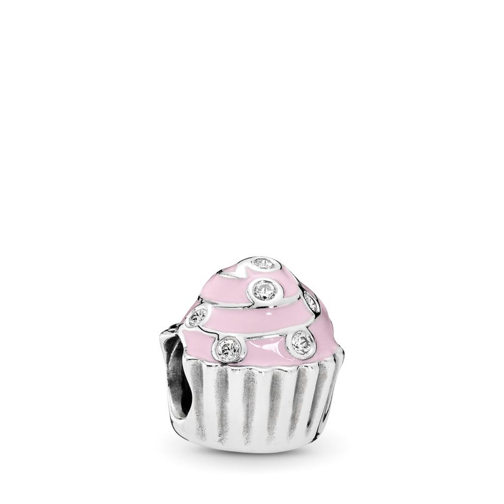Sweet Cupcake Charm, Light Pink Enamel & Clear CZ, Sterling silver, Enamel, Pink, Cubic Zirconia - PANDORA - #791891EN68