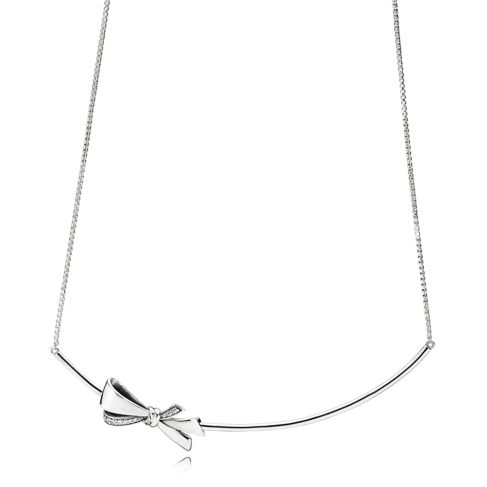 Brilliant Bow Necklace, Clear CZ
